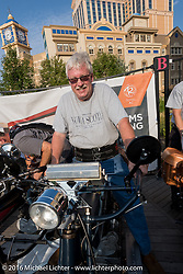 Jeff Tiernan of New York on his 1913 Henderson on the Atlantic City boardwalk at the start of the Motorcycle Cannonball Race of the Century. Stage-1 from Atlantic City, NJ to York, PA. USA. Saturday September 10, 2016. Photography ©2016 Michael Lichter.