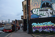 Street art graffiti and an old cafe sign in Digberth, Birmingham, United Kingdom. Digbeth is an area of Central Birmingham, England. Following the destruction of the Inner Ring Road, Digbeth is now considered a district within Birmingham City Centre. As part of the Big City Plan, Digbeth is undergoing a large redevelopment scheme that will regenerate the old industrial buildings into apartments, retail premises, offices and arts facilities. There is still however much industrial activity in the south of the area.