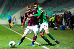 Tilen Mlakar of NK Triglav  and Mario Jurcevic of NK Olimpija during football match between NK Olimpija Ljubljana and NK Triglav Kranj in Round #22 of Prva liga Telekom Slovenije 2019/20, 25 February, 2020 in Stadium Stozice, Ljubljana, Slovenia. Photo By Grega Valancic / Sportida