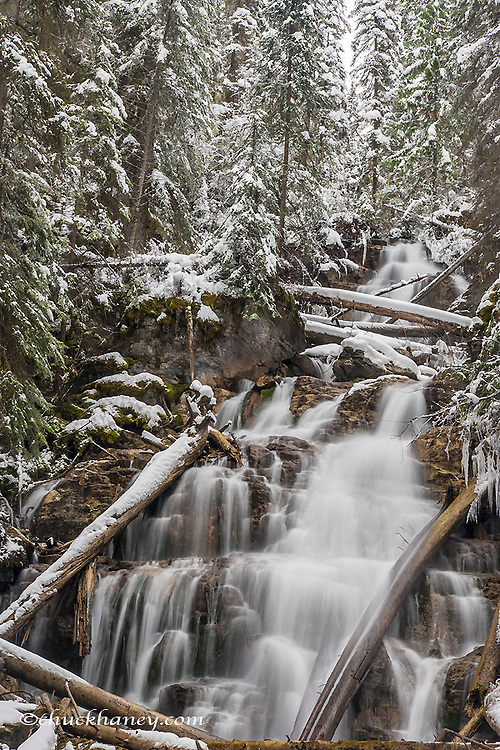 Martin Falls in winter in the Flathead National Forest, Montana, USA