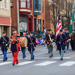 York, P / USAA - March 12, 2016: A group of Civil War reenactors march in the annual Saint Patrick's Day Parade.