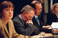 24 JAN 2000, BERLIN/GERMANY:<br /> Angela Merkel, CDU Generalsekretärin, Wolfgang Schäuble, CDU Parteivorsitzender, und Matthias Wissmann, CDU Schatzmeister, Pressekonferenz zum Bericht der Wirtschaftsprüfer Ernst & Young der CDU-Parteispenden, Konrad-Adenauer-Stiftung<br /> Angela Merkel, CDU general secretary, Wolfgang Schaeuble, CDU party leader, and Matthias Wissmann, CDU party treasurer, press conference about the report of the private auditors Ernst & Young about unexplained funds in the Christian Democratic Union (CDU) <br /> IMAGE: 20000124-01/02-16