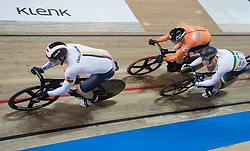 February 28, 2019 - Pruszkow, Poland - Stefan Botticher (GER),Matthijs Buchli (NED),Matthew Glaetzer (AUS) on day two of the UCI Track Cycling World Championships held in the BGZ BNP Paribas Velodrome Arena on February 28, 2019 in Pruszkow, Poland. (Credit Image: © Foto Olimpik/NurPhoto via ZUMA Press)
