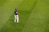 Aaron Hicks #32 of the Minnesota Twins looks on from  centerfield during a game against the Chicago White Sox on May 13, 2013 at Target Field in Minneapolis, Minnesota.  The Twins defeated the White Sox 10 to 3.  Photo: Ben Krause