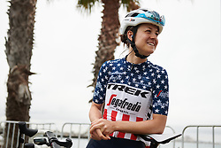 Ruth Winder (USA) waits for sign on at the 2020 Cadel Evans Great Ocean Road Race - Deakin University Women's Race, a 121 km road race in Geelong, Australia on February 1, 2020. Photo by Sean Robinson/velofocus.com