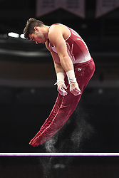 August 18, 2018 - Boston, Massachussetts, U.S - TANNER JUSTUS practices on the high bar during the warm-up period before the final round of competition held at TD Garden in Boston, Massachusetts. (Credit Image: © Amy Sanderson via ZUMA Wire)