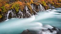 Autumn mood by Hraunfossar falls in Iceland.