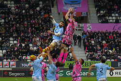 January 5, 2019 - Paris, France - Stade Francais Lock PAUL GABRILLAGUES in action during the French rugby championship Top 14 match between Stade Francais and  Perpignan  at Jean Bouin Stadium in Paris - France..Stade Franais won 27-8 (Credit Image: © Pierre Stevenin/ZUMA Wire)