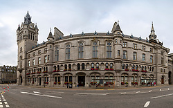 Exterior view of Sheriff Court on Union Street in Aberdeen city centre, Scotland, UK