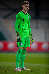NEWPORT, WALES - Friday, September 3, 2021: England's goalkeeper Charlie Setford during an International Friendly Challenge match between Wales Under-18's and England Under-18's at Spytty Park. (Pic by David Rawcliffe/Propaganda)