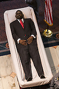 The body of slain State Senator Clementa Pinckney lying in State in the Capitol during public visitation June 24, 2015 in Columbia, South Carolina. Pinckney is one of the nine people killed in last weeks Charleston church massacre.