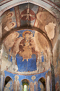 Pictures and images of the historic frescoes of St Nicholas Church interior in the medieval Kintsvisi Monastery Georgian Orthodox Monastery complex, depicting  the Virgin Mary also contains an enthroned Hodegetria with a Communion of the Apostles in iits apse. Shida Kartli Region, Georgia (country). .<br /> <br /> Visit our MEDIEVAL PHOTO COLLECTIONS for more   photos  to download or buy as prints https://funkystock.photoshelter.com/gallery-collection/Medieval-Middle-Ages-Historic-Places-Arcaeological-Sites-Pictures-Images-of/C0000B5ZA54_WD0s<br /> <br /> Visit our REPUBLIC of GEORGIA HISTORIC PLACES PHOTO COLLECTIONS for more photos to browse, download or buy as wall art prints https://funkystock.photoshelter.com/gallery-collection/Pictures-Images-of-Georgia-Country-Historic-Landmark-Places-Museum-Antiquities/C0000c1oD9eVkh9c