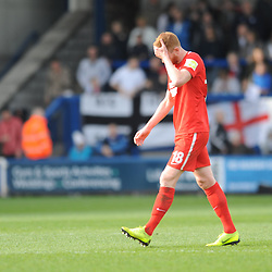 TELFORD COPYRIGHT MIKE SHERIDAN 23/3/2019 - RED CARD. Matt Harrold of Orient is sent off after elbowing Shane Sutton of AFC Telford during the FA Trophy Semi Final fixture between AFC Telford United and Leyton Orient at the New Bucks Head