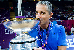 Igor Kokoskov, coach of Slovenia celebrating at Trophy ceremony after winning during the Final basketball match between National Teams  Slovenia and Serbia at Day 18 of the FIBA EuroBasket 2017 when Slovenia became European Champions 2017, at Sinan Erdem Dome in Istanbul, Turkey on September 17, 2017. Photo by Vid Ponikvar / Sportida
