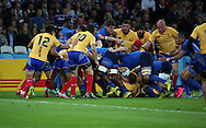 A ruck near the Romanian try line during the Rugby World Cup Pool D match between France and Romania at the Queen Elizabeth II Olympic Park, London, United Kingdom on 23 September 2015. Photo by Matthew Redman.