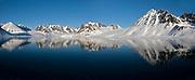 Midnight-sun scenery from Magdalenefjord, western Spitsbergen, Svalbard