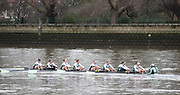 Putney, Greater London. 16th December 2019, Cambridge University Women's Trial Eights, raced over the Championship Course, Putney to Mortlake, River Thames, [Mandatory Credit: Peter SPURRIER/Intersport Images],<br /> <br /> Actin<br />  Cox. Dylan Whitaker, Stroke. Caoimhe Dempsey, 7. Patricia Smith, 6. Sophie Paine, 5. Abigail Parker, 4. Sarah Portsmouth, <br /> 3. Emily McHarg, 2. Rebecca Dell, Bow. Bronya Sykes