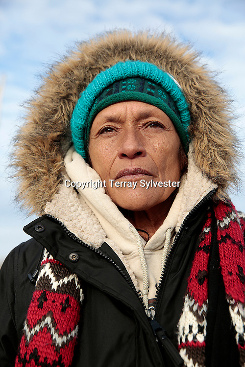 """Dolores """"Bibi"""" Moreno of the Juaneño Band of Mission Indians in California poses for a portrait in the opposition camp against the Dakota Access oil pipeline on November 19, 2016. Cannon Ball, North Dakota, United States."""