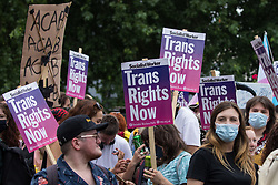 London, UK. 26th June, 2021. Thousands of people assemble to take part in a London Trans+ Pride march from the Wellington Arch to Soho Square. London Trans+ Pride is a grassroots protest event which is not affiliated with Pride in London and focuses on creating a space for the London trans, non-binary, intersex and GNC community to come together to celebrate their identities and to fight for their rights.