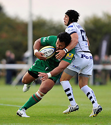 Ofisa Treviranus (London Irish) takes on the Bristol defence - Photo mandatory by-line: Patrick Khachfe/JMP - Mobile: 07966 386802 22/08/2014 - SPORT - RUGBY UNION - Middlesex - Hazelwood - London Irish v Bristol Rugby - Pre-Season Friendly