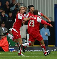 Photo: Paul Thomas.<br /> MK Dons v Swindon Town. Coca Cola League 1.<br /> 01/10/2005.<br /> <br /> Rory Fallon and Swindon team mates celebrate his goal.