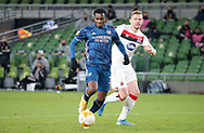 Eddie Nketiah of Arsenal scores the first goal during the Europa League Group B match between Dundalk and Arsenal at Aviva Stadium, Dublin, Republic of Ireland on 10 December 2020.