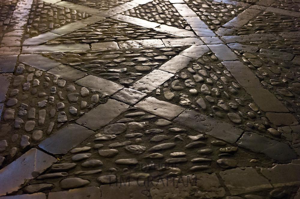 Cobbled path in Leon, Castilla y Leon, Spain