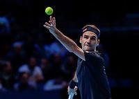 Tennis - 2019 Nitto ATP Finals at The O2 - Day Seven<br /> <br /> Semi Finals: Stefanos Tsitsipas (Greece) Vs. Roger Federer (Switzerland) <br /> <br /> Roger Federer (Switzerland) serves<br /> <br /> COLORSPORT/DANIEL BEARHAM<br /> <br /> COLORSPORT/DANIEL BEARHAM
