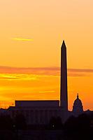 Predawn view of the Lincoln Memorial, Washington Monument and U.S. Capitol, Washington D.C., U.S.A.