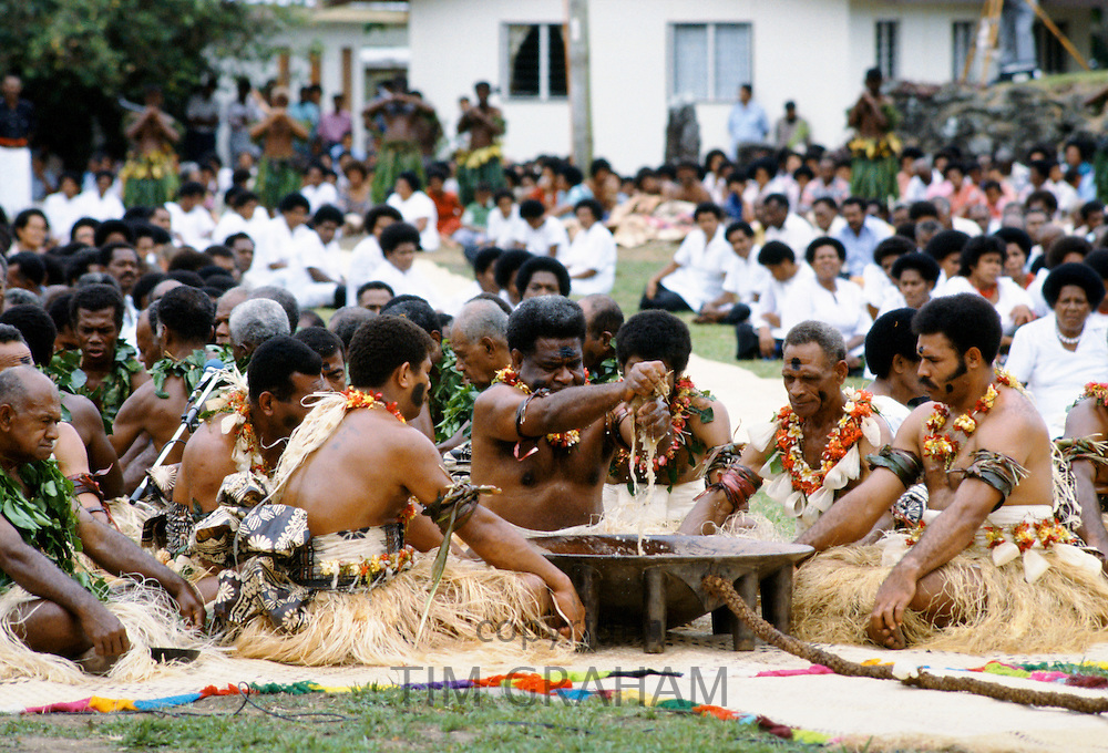 Fijian chiefs at Kava Ceremony tribal gathering cultural event in Fiji, South Pacific