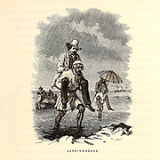 Landing Scene [Tourists are carried to shore on the backs of local porters] Wood Engravings from the book 'Palestine, past and present' with Biblical, Literary and Scientific Notices by Rev. Osborn, H. S. (Henry Stafford), 1823-1894 Published in Philadelphia, by J. Challen & son; in 1859
