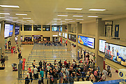 Departures area inside airport terminal building, Valletta, Malta