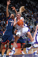 Kansas State forward Danielle Zanotti (R) pulls down a defensive rebound away from Auburn forward Trevesha Jackson (L), during first half action at Bramlage Coliseum in Manhattan, Kansas, March 25, 2007.  Kansas State defeated Auburn in the Elite Eight of the WNIT 67-54.