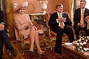 Staatsbezoek van Koning en Koningin aan de Republiek Italie - dag 1 - Rome /// State visit of King and Queen to the Republic of Italy - Day 1 - Rome<br /> <br /> Op de foto / On the photo: Koning Willem Alexander en Koningin Maxima in gesprek met Voorzitter van de Senaat in het Palazzo Giustiniani<br /> <br /> King Willem Alexander and Queen Maxima in talks with Senate President in Palazzo Giustiniani