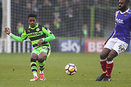 Forest Green Rovers Reece Brown(10) passes the ball forward during the The FA Cup match between Forest Green Rovers and Exeter City at the New Lawn, Forest Green, United Kingdom on 2 December 2017. Photo by Shane Healey.