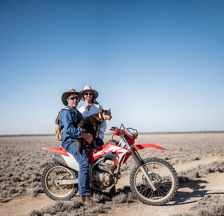 Owners of Wooleen Station, David and Frances Pollock with Pippa on their property in the South Murchison area of Western Australia
