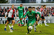 Watford defender Miguel Angel Britos (3) chases after the ball during the The FA Cup 3rd round match between Woking and Watford at the Kingfield Stadium, Woking, United Kingdom on 6 January 2019.