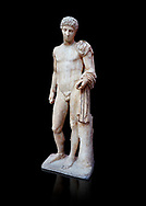 Roman marble statue of Hermes found at Aigion, Pelopenese. 27 BC - 14 AD. Athens Archaeological Museum Cat No 241. Against black<br /> <br /> Hermes is depicted standing wearing a chalamys that is wound around his lest arm. In his right hand he holds a purse and in his left a 'caduceus'. Augustan Roman period .<br /> <br /> If you prefer to buy from our ALAMY STOCK LIBRARY page at https://www.alamy.com/portfolio/paul-williams-funkystock/greco-roman-sculptures.html . Type -    Athens    - into LOWER SEARCH WITHIN GALLERY box - Refine search by adding a subject, place, background colour, etc.<br /> <br /> Visit our ROMAN WORLD PHOTO COLLECTIONS for more photos to download or buy as wall art prints https://funkystock.photoshelter.com/gallery-collection/The-Romans-Art-Artefacts-Antiquities-Historic-Sites-Pictures-Images/C0000r2uLJJo9_s0