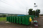 Toilet facilities are ready at Glastonbury Festival 19th July 2016, Somerset, United Kingdom.  Work getting the festival ready takes weeks and in the days up to the festival starts work is frantic.  The Glastonbury Festival runs over 3 days and has 3000 acts, including music, art and performance and approx. 150.000 attend the anual event.
