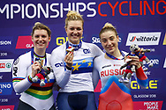 Podium, Women Keirin, Mathilde Gros (France) gold medal, Nicky Degrendele (Belgium) silver medal, Daria Shmeleva (Russian Federation) bronze medal during the Track Cycling European Championships Glasgow 2018, at Sir Chris Hoy Velodrome, in Glasgow, Great Britain, Day 6, on August 7, 2018 - Photo luca Bettini / BettiniPhoto / ProSportsImages / DPPI<br /> - Restriction / Netherlands out, Belgium out, Spain out, Italy out -- photo Luca Bettini/BettiniPhoto©2018