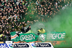 The Green Brigade group of Celtic supporters during the Ladbrokes Scottish Premiership match at Rugby Park, Kilmarnock.