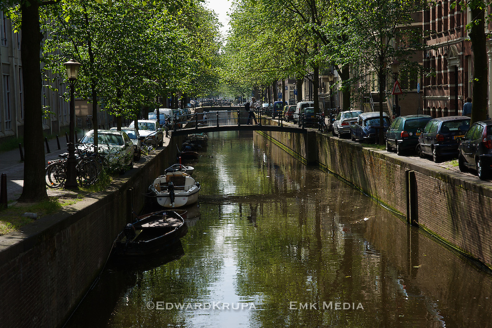 A tree lined canal view in Amsterdam.
