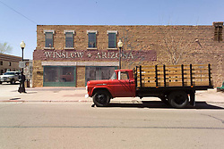"""Standing on the Corner"" in Winslow Arizona Statue with Flatbed Pickup Truck. 24 March 2008"