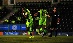 Jamille Matt of Forest Green Rovers scores his second goal making it 2-0 - Mandatory by-line: Nizaam Jones/JMP - 27/02/2021 - FOOTBALL - The innocent New Lawn Stadium - Nailsworth, England - Forest Green Rovers v Colchester United - Sky Bet League Two