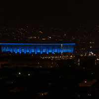 Budapest landmark Ferenc Puskas Football Stadium is seen in blue decoration light honouring the World Autism Day in Budapest, Hungary on April 2, 2020. ATTILA VOLGYI