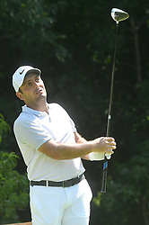 July 13, 2018 - Silvis, Illinois, U.S. - SILVIS, IL - JULY 13:  Francesco Molinari reacts as he hits his tee shot on the#2 hole during the second round of the John Deere Classic on July 13, 2018, at TPC Deere Run, Silvis, IL.  (Photo by Keith Gillett/Icon Sportswire) (Credit Image: © Keith Gillett/Icon SMI via ZUMA Press)