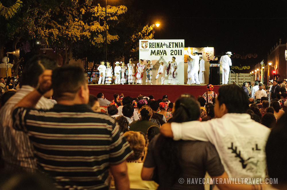 Part of the celebrations next to main square for the Queen of the Maya 2011 Festival in downtown Valladolid, a colonial town in the heart of Mexico's Yucatan Peninsula.