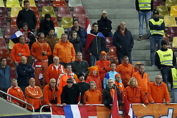 fans of Holland during the friendly match between Romania and The Netherlands on November 14, 2017 at Arena National in Bucharest, Romania