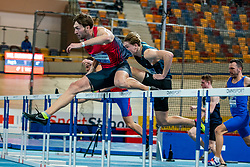Liam Van der Schaaf in action on the 60 meter hurdles during AA Drink Dutch Athletics Championship Indoor on 21 February 2021 in Apeldoorn.