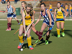 Sare Laubscher of Oranje(yellow) and Elenore Pretorius of HMS Bloemhof during day two of the FNB Private Wealth Super 12 Hockey Tournament held at Oranje Meisieskool in Bloemfontein, South Africa on the 7th August 2016, <br /> <br /> Photo by:   Frikkie Kapp / Real Time Images
